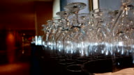 Motion of empty glasses inside Pan Pacific Vancouver hotel. video