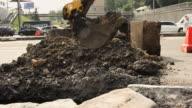 Motion of excavator bucket. video