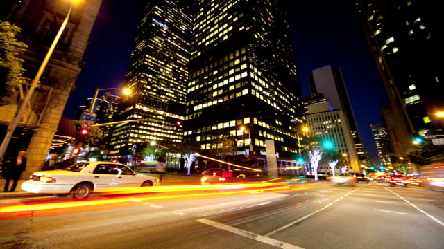 Motion Panning Time lapse Night City Traffic and Pedestrians video
