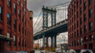 Motion time lapse hyperlapse of Manhattan bridge from Washington street, Brooklyn, New York, USA video