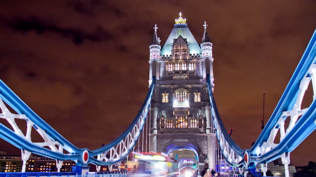 HD Motion Time-Lapse: Busy Tower Bridge At Night video