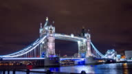 HD Motion Time-Lapse: Tower Bridge At Night video