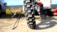 Motocross tire camera zoom. Dirtbike wheel close-up. video