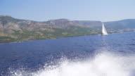 HD SUPER SLOW MO: Motor Boat And Sailboat video