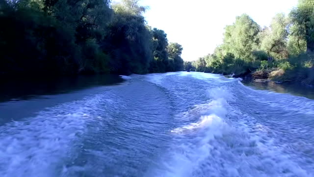 Motor Boat Sailing On Water Making Waves In Danube Delta Slow Morion video