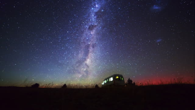 Motor home and milky way at Southern Hemisphere sky video