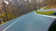 motorbike on the road in nature Landscape video