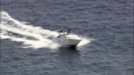 Motorboat at sea - Aerial View - Catalonia, Tarragona, Torredembarra, Spain video