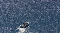 motorboat on Otis reservoir - Aerial View - Massachusetts,  Berkshire County,  United States video