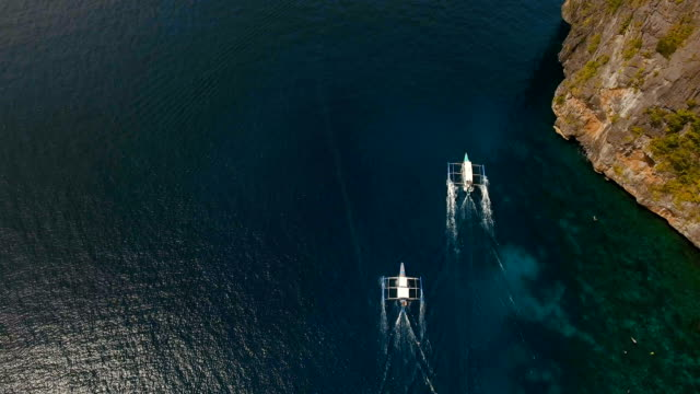 Motorboats on the sea, aerial view video