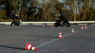 Motorcycle Driving Lessons between traffic cones Moto Gymkhana Motorcyclists video