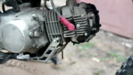 Motorcycle engine exhaust close-up video