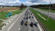 BELARUS, MINSK - April 23, 2016: Motorcycle Season opening parade with thousands of bikers on the road. Top view. video