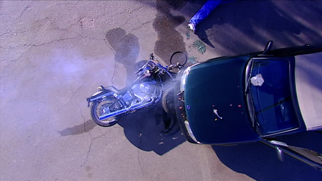 Motorcycle Wreck from above shot video