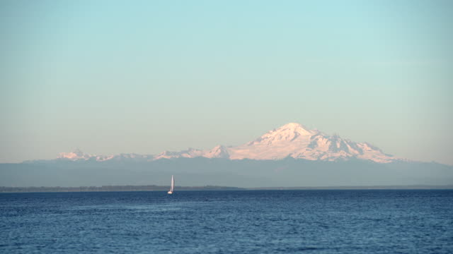 Mount Baker, Boundary Bay, Washington State. UHD video