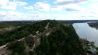 Mount Bonnell Aerial Fly Over Austin Texas Circle Around Mount Bonnell video