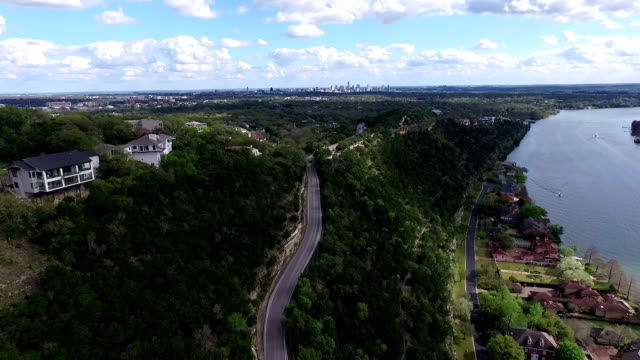 Mount Bonnell Aerial Fly Over Austin Texas High Angle Way Above Texas Hill Country video