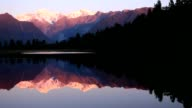 Mount Cook in Lake Matheson New Zealand video