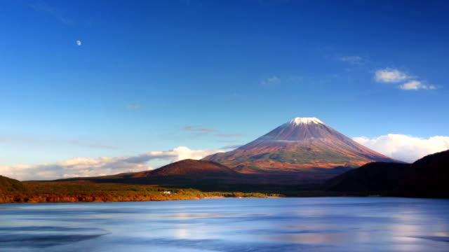 Mount Fuji and Lake Motosu, Japan on a clear afternoon video