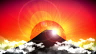 Mount Fuji Japan, animation, rising sun, red video