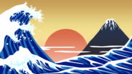 Mount Fuji with Beautiful sea, japan, cartoon video