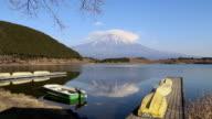 Mount Fuji with Boat at Tanuki Lake, Japan video