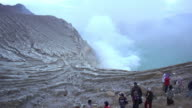 Mount Kawah Ijen volcano during sunrise in East Java, Indonesia. video