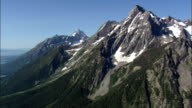 Mount Moran  - Aerial View - Wyoming,  Teton County,  helicopter filming,  aerial video,  cineflex,  establishing shot,  United States video