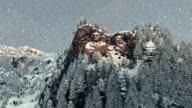 Mount Rushmore in winter, snowing, camera fly video