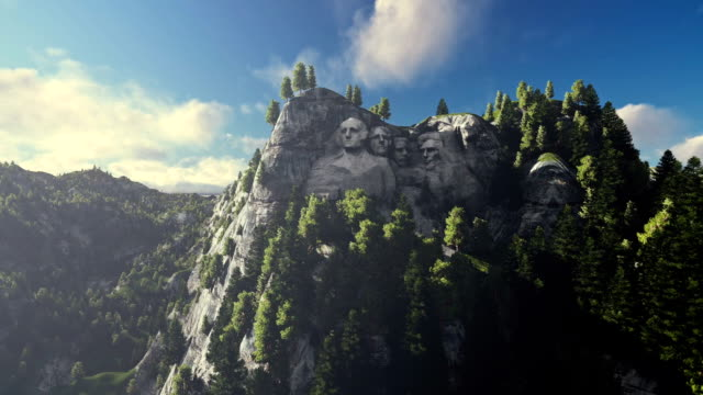 Mount Rushmore, timelapse clouds, camera fly video