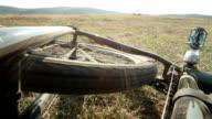 Mountain bicycle crash - rear wheel spinning video