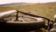 Mountain bicycle cycling - bicycle crash outdoors video