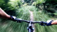 Mountain bike singletrack downhill, MTB personal perspective video