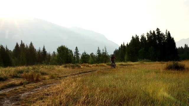 Mountain biker follows mountain track at sunrise video