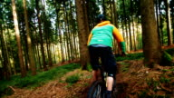 Mountain Biker going downhill with MTB slow motion video