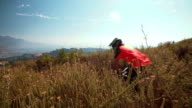 Mountain biker riding a singletrack cross country trail in mountains video