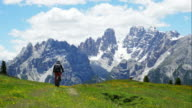 Mountain Biker Riding In Alpine Landscape UHD video