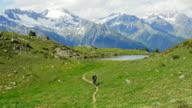 Mountain Biker Riding In Alpine Landscape (UHD) video