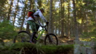 SLO MO Mountain biker riding up the forest trail video