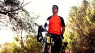 Mountain biker taking a break to drink some water video