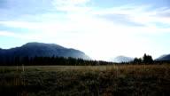 Mountain biker traverses meadow into sunrise video