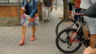 Mountain Bikes In Town Waiting To Cross video