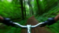 HD Mountain Biking Through Green Forest (Blurred) video