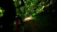 Mountain Biking Through Green Forest POV video