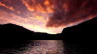 mountain lake at sunset video