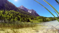 Mountain lake in the alps. video