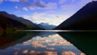 Mountain Lake Landscape, Colorful Reflection and Silhouette Setting Sun video
