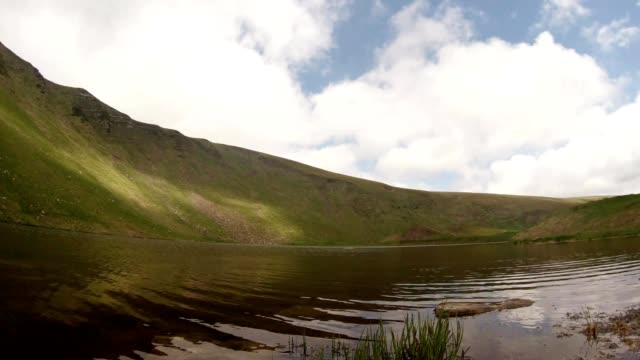 mountain lake that reflects the sky and live newts video
