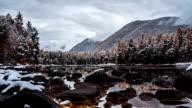 Mountain lake time lapse video