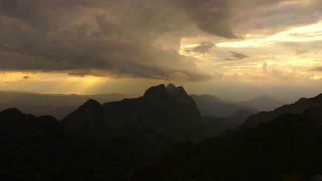Mountain Landscape with Sunset and Cloudscape video